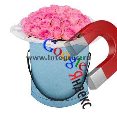реклама цветов в шляпных коробках в директ и гугл